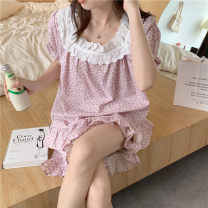 Pajamas / housewear set female Other / other Average size Little purple nightdress, little purple suit, little orchid nightdress, little orchid suit cotton Short sleeve Sweet Leisure home summer routine square neck Plants and flowers shorts Socket youth rubber string printing longuette