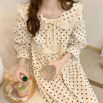 Pajamas / housewear set female Other / other Average size Picture color other Short sleeve Sweet Leisure home summer Thin money Small lapel Dot Socket youth Less than 20% Middle-skirt