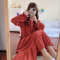 Pajamas / housewear set female Other / other Average size Rust red, mocha other Long sleeves Sweet pajamas winter routine Crew neck Dot Socket youth longuette