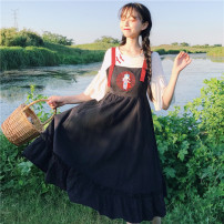 Dress Summer of 2018 Black strap skirt [single piece] flared Sleeve T [single piece] Average size Mid length dress Two piece set Sweet One word collar middle-waisted Cartoon animation Socket Ruffle Skirt camisole Under 17 Embroider with lotus leaf Twelve More than 95% cotton solar system