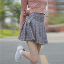skirt Spring 2017 S,M,L Brown with lining, royal blue with lining, pink with lining Short skirt commute High waist A-line skirt lattice Type A Under 17 More than 95% polyester fiber Korean version