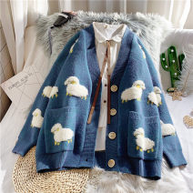 sweater Autumn 2020 S,M,L,XL,2XL,3XL Blue, green, rose red, cationic base coat Long sleeves Cardigan singleton  Regular other 81% (inclusive) - 90% (inclusive) V-neck thickening Sweet bishop sleeve Bear Self cultivation Regular wool Keep warm and warm 18-24 years old cotton Single breasted cotton