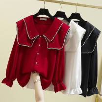 Women's large Spring 2021, summer 2021 Black, red, white, sling white Large L, large XL, m, 2XL, 3XL, 4XL shirt singleton  Sweet easy thin Cardigan Long sleeves Solid color Lotus leaf collar routine other Three dimensional cutting Petal sleeve 25-29 years old Nail bead Lotus leaf edge Three buttons