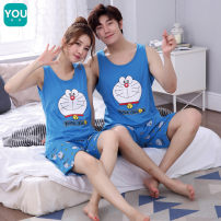 Pajamas / housewear set lovers Dazzle M L XL XXL Women's suit men's suit cotton Sleeveless Cartoon Sports Home summer Thin money Crew neck Cartoon animation shorts Socket youth 2 pieces rubber string More than 95% pure cotton printing 848#