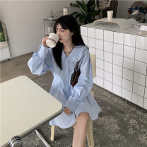 Dress Summer 2021 blue Average size Mid length dress singleton  Long sleeves commute Doll Collar High waist Solid color Single breasted A-line skirt routine Others 18-24 years old Type A Korean version A793# 81% (inclusive) - 90% (inclusive)