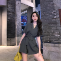 Jumpsuit / pants 81% (inclusive) - 90% (inclusive) shorts other High waist commute Gray, black S,M,L,XL routine Summer 2021 Wide leg pants Tagkita / she and others Strap, button Pure e-commerce (online only)