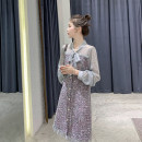 Women's large Spring 2021 Grey, grey L [genuine quality assurance], 1XL [genuine quality assurance], 2XL [genuine quality assurance], 3XL [genuine quality assurance], 4XL [genuine quality assurance] Dress Fake two pieces commute Self cultivation moderate Cardigan Long sleeves Ol style NAL175 bow