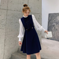 Women's large Spring 2021 L [genuine quality assurance], 1XL [genuine quality assurance], 2XL [genuine quality assurance], 3XL [genuine quality assurance], 4XL [genuine quality assurance] Dress singleton  commute Self cultivation moderate Socket Long sleeves Solid color Ol style bishop sleeve