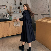 Women's large Spring 2021 black L [genuine quality assurance], 1XL [genuine quality assurance], 2XL [genuine quality assurance], 3XL [genuine quality assurance], 4XL [genuine quality assurance] Dress singleton  commute Self cultivation moderate Socket Long sleeves Solid color Ol style Admiral ML063H