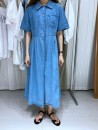 Dress Spring 2021 blue S, M Short sleeve commute Polo collar High waist Solid color Single breasted routine 25-29 years old Button, pocket 51% (inclusive) - 70% (inclusive) cotton