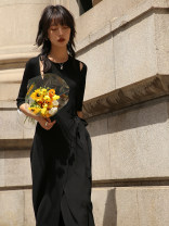 Dress Summer 2021 Quiet black (pre-sale 10 days) S, M Mid length dress elbow sleeve commute Crew neck middle-waisted Solid color routine Hanging neck style 18-24 years old Type A SUPERSCAPE Retro Q210322