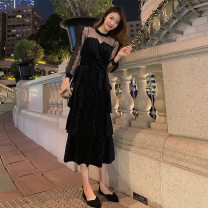 Dress Summer 2021 black S,M,L,XL,2XL Mid length dress singleton  Long sleeves commute Crew neck High waist Solid color zipper A-line skirt routine Others 25-29 years old Type A Splicing