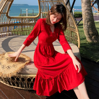 Dress Autumn of 2019 Red main picture, red 8562 S,M,L,XL Mid length dress singleton  Long sleeves Sweet V-neck High waist other other Others 25-29 years old Other / other 9821# 91% (inclusive) - 95% (inclusive) Chiffon Bohemia