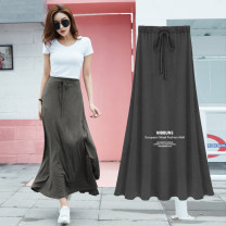 skirt Summer 2021 S,M,L,XL,2XL Black super long, dark grey super long, black long, dark grey long longuette commute Natural waist A-line skirt Solid color Type A 25-29 years old 31% (inclusive) - 50% (inclusive) modal  Korean version 201g / m ^ 2 (including) - 250G / m ^ 2 (including)