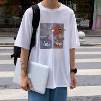 T-shirt other T63 black (pure cotton), T63 white (pure cotton), T63 blue (pure cotton), T63 gray (pure cotton) thin M. L, XL, XXL Others elbow sleeve other easy Other leisure summer cd0956 teenagers Off shoulder sleeve Basic public 2020 Cartoon animation printing other Cartoon animation