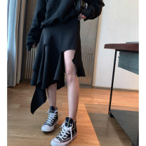 skirt Spring of 2019 S,M,L black Middle-skirt gorgeous Natural waist A-line skirt Solid color Type A Y601 31% (inclusive) - 50% (inclusive) other