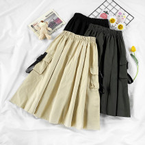 skirt Autumn 2020 S,M,L,XL Dark grey, black, apricot Middle-skirt street High waist A-line skirt Solid color Type A 18-24 years old 71% (inclusive) - 80% (inclusive)
