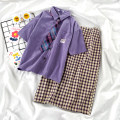 Fashion suit Summer 2021 S. M, l, XL, one size fits all Purple shirt, purple skirt, girl tie 18-25 years old 71% (inclusive) - 80% (inclusive)
