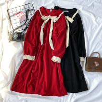 Dress Spring 2021 Black, red S,M,L,XL,2XL Mid length dress singleton  Long sleeves Sweet Doll Collar High waist Solid color Socket A-line skirt Petal sleeve Others Type A 71% (inclusive) - 80% (inclusive) solar system