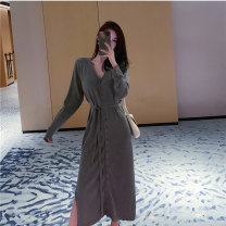 Women's large Autumn 2020 Gray, black, blue S,M,L,XL Dress singleton  commute Self cultivation moderate Long sleeves Solid color Korean version V-neck routine Three dimensional cutting other DXH-3F-332-3051-57 18-24 years old Resin fixation Medium length other