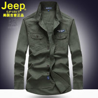 shirt Business gentleman Jeep / Jeep M,L,XL,XXL,XXXL,4XL,5XL routine Windsor collar Long sleeves easy go to work autumn middle age Cotton 94% other 6% Business Casual 2018 Solid color Color woven fabric washing cotton badge Easy to wear 90% (inclusive) - 95% (inclusive)