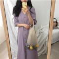 Dress Summer of 2019 violet Average size longuette singleton  Short sleeve commute V-neck Solid color Single breasted A-line skirt shirt sleeve 18-24 years old Other / other Korean version More than 95%