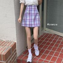 skirt Summer 2021 S,M,L Purple check, blue check Short skirt commute High waist A-line skirt lattice Type A 18-24 years old 31% (inclusive) - 50% (inclusive) other zipper
