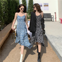 Dress Spring 2021 Blue, black M, L Miniskirt singleton  Sleeveless commute V-neck High waist Broken flowers Socket Ruffle Skirt other camisole 18-24 years old Type A Korean version 30071# 31% (inclusive) - 50% (inclusive) other polyester fiber