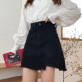 skirt Spring 2021 S,M,L,XL black Short skirt Versatile High waist A-line skirt 18-24 years old 91% (inclusive) - 95% (inclusive) Denim