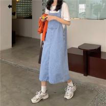 Dress Summer 2021 blue S,M,L Mid length dress singleton  commute middle-waisted straps 18-24 years old Type A Korean version 71% (inclusive) - 80% (inclusive) other