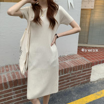 Dress Summer 2021 Apricot, black M, L longuette singleton  Short sleeve commute Solid color Socket routine Others 18-24 years old Type A More than 95% other
