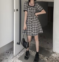 Dress Summer 2020 Picture color M, L Short skirt singleton  Short sleeve square neck lattice Single breasted 18-24 years old Type A cotton
