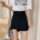 skirt Summer 2021 S,M,L,XL White, purple, black Short skirt High waist A-line skirt Solid color Type A 18-24 years old 6072# Denim