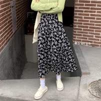 skirt Summer 2021 Average size Black flower Mid length dress commute High waist A-line skirt Broken flowers Type A 18-24 years old 81% (inclusive) - 90% (inclusive) other