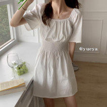 Dress Summer 2021 White, black Average size Mid length dress Short sleeve 18-24 years old More than 95%
