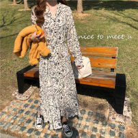 Dress Summer 2020 Apricot, black Average size Miniskirt singleton  Long sleeves commute Polo collar Loose waist Decor shirt sleeve 18-24 years old Type A Other / other 31% (inclusive) - 50% (inclusive) Chiffon