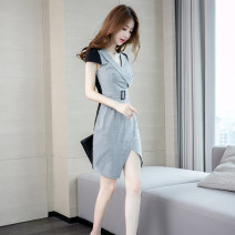 Dress Summer of 2019 Picture color S,M,L,XL Middle-skirt singleton  Short sleeve commute V-neck High waist zipper Irregular skirt routine Others 25-29 years old Ol style zipper More than 95% polyester fiber