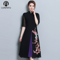 cheongsam Autumn of 2018 M L XL XXL XXXL XXXXL three quarter sleeve Single cheongsam grace No slits daily Round lapel scenery Over 35 years old Embroidery Allen iver other Other 100% Pure e-commerce (online only)
