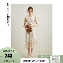 Dress Summer 2020 Cream apricot (in stock) 155/64A/S 160/68A/M 165/72A/L longuette singleton  Short sleeve commute V-neck High waist Broken flowers zipper A-line skirt routine 25-29 years old Type A Orange Desire literature printing OD20ML2051 More than 95% polyester fiber Polyester 100%