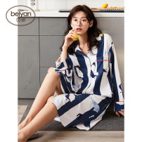 Nightdress Beiyan sexy longuette Leisure home Plants and flowers spring youth Crew neck cotton printing More than 95% Knitted cotton fabric S4478 Spring 2020 Cotton 100% Pure e-commerce (online sales only) 160(M) 165(L) 170(XL) S4478 color cfs4440 color s4491 color