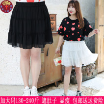 Women's large Summer of 2019 Black, white, blue Large XL, large XXL, large XXL skirt singleton  commute easy thin Short sleeve Solid color Korean version other Three dimensional cutting A173 25-29 years old 71% (inclusive) - 80% (inclusive) Short skirt Pleated skirt