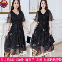 Women's large Summer 2020 black 4XL (150-180 kg), 5XL (180-210 kg), 6xl (210-240 kg), 7XL (240-270 kg), 8xl (270-300 kg) Dress singleton  commute easy thin Socket Short sleeve other Korean version V-neck nylon printing and dyeing Lotus leaf sleeve 9922# 25-29 years old Gauze Medium length
