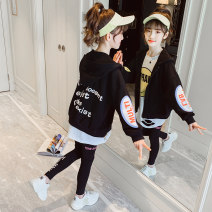 suit Children's coffee black 110cm 120cm 130cm 140cm 150cm 160cm female spring and autumn Korean version Long sleeve + pants 3 pieces routine There are models in the real shooting Socket No detachable cap Cartoon animation cotton children Expression of love TK21033 Class B Spring 2021
