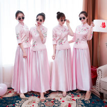 Wedding dress Autumn of 2018 Retro A-line skirt other other satin BNF Other / other 96% and above Pink bridesmaid dress with glasses and roses, pink bridesmaid dress without gifts S,M,L,XL