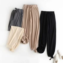 Casual pants Black, gray, khaki, apricot S,M,L Autumn 2020 trousers Knickerbockers High waist routine other belt
