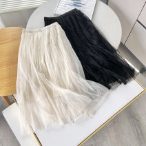 skirt Spring 2021 S,M,L Yellow, beige Mid length dress Versatile Natural waist Pleated skirt Solid color 30% and below other other