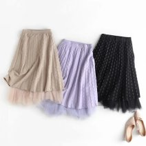 skirt Autumn 2020 Average size Khaki, black, purple longuette commute High waist Pleated skirt Solid color Type A 25-29 years old polyester fiber Gauze