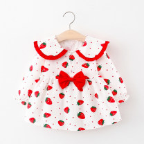 Dress Red, pink female Other / other 80cm suggests 0-1 years old, 90cm suggests 1-2 years old, 100cm suggests 2-3 years old, 110cm suggests 3-4 years old Other 100% spring and autumn princess Broken flowers cotton Splicing style