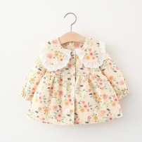 Dress Red, yellow, milky white female Other / other 80cm suggests 0-1 years old, 90cm suggests 1-2 years old, 100cm suggests 2-3 years old, 110cm suggests 3-4 years old Other 100% spring and autumn fresh Long sleeves Broken flowers cotton Irregular AY076