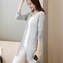 Wool knitwear Spring of 2018 S,M,L,XL,XXL Long sleeves singleton  Cardigan other More than 95% Medium length Thin money commute easy V-neck routine Solid color Korean version